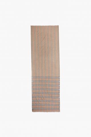 Burberry Check to Stripe Gauze Scarf