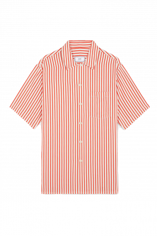 Ami Paris Striped Short Sleeve Shirt