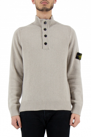 Stone Island Button Funnel Neck Crew Knit