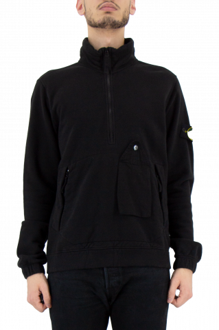 Stone Island Quarter Zip Garment Dyed Pocket Sweat